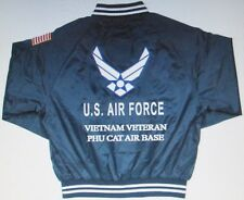 PHU CAT AIR BASE*VIETNAM VETERAN *AIR FORCE EMBROIDERED 2-SIDED SATIN JACKET
