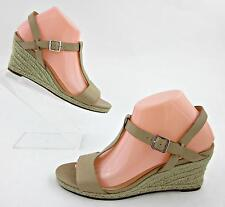 Cole Haan 'Elizabeth' T-Strap Espadrille Wedge Sandals Sandstone Leather Sz 8B