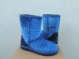 UGG NAVY CLASSIC SHORT II CROC VELVET/ WOOL BOOTS, WOMEN US 6/ EUR 37 ~ NIB
