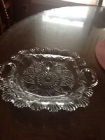 Clear Pressed Glass Candy Dish Footed w/Handles 10 1/2""
