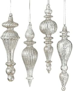 NWT Set 8 SILVER Mottled Ribbed Mercury GLASS FINIAL Drop CHRISTMAS Ornaments