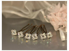 Crystal Hair Pins Set of 6 Bridal Hair Accessory UK Wedding Prom Cluster Style