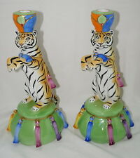 "Lynn Chase Tiger Raj (2) Candlestick Holders Candle Holders, 11½"" x 5¾"" RARE"