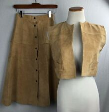 Vintage Pig Suede Vest Skirt Set 2XS XS Cosplay Costume Leather Brown Womens C10