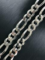MENS CURB FIGARO 925 Sterling Silver Solid HEAVY CHAIN Bracelet ALL SIZES 10MM