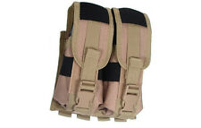 Deluxe Double Pouch Tan Molle Belt Holds Four (4) AR or AK Style Rifle Mags