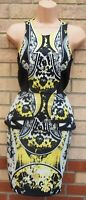 RIVER ISLAND BAROQUE PRINTED PEPLUM SCUBA BODYCON BLACK YELLOW PARTY DRESS 6 XS