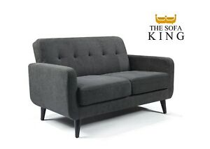 Grey Fabric Sofa 2 Seater - FREE NEXT DAY DELIVERY - Small Compact Easy Delivery