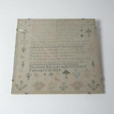 1824 Antique 13yo Child's Handmade Christian Poem Embroidery in Glass Frame