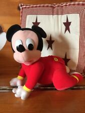 "Disney Touch 'n Crawl Baby Mickey Mouse Toddler Plush Toy 1995 Mattel 11"" Long"