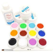 12 Color UV Gel Builder Clear Pink White Gel Cleanser plus Brush UV Nail Art Set