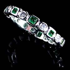 GEOMETRIC EMERALD GREEN / CLEAR CZ ETERNITY BAND _SIZE-5__925 STERLING SILVER
