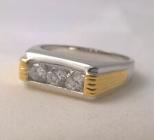 G-Filled Men's 18kt white and yellow gold two tone ring simulated diamond Gents