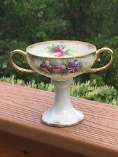 Vintage Luster Ware Double Handle Footed Pedestal Bouillon Cup