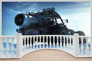 Huge 3D Balcony Nuclear Powered Vehicle Wall Stickers Wallpaper 1030
