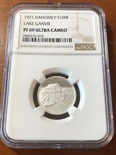 1971 DAHOMEY SILVER 100 FRANCS LAKE GANVIE - NGC PF 69 Ultra Cameo