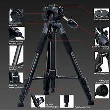 Professional Camera Tripod Video Portable Aluminum Swivel Steady Carrying Case