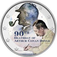 2 Euro Gedenkmünze mit Arthur Conan Doyle coloriert / Farbe / Farbmünze