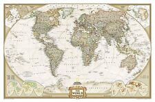 Poster Executive World map laminated Landscape format 46 1/8x29 7/8in  3384308oz