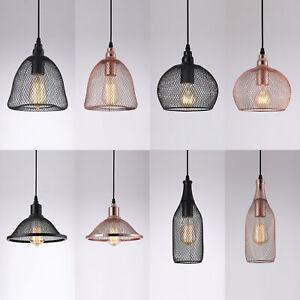 Stylish Mesh Copper Effect Ceiling Pendant Lampshade Lounge Lighting LED Black