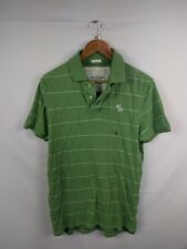Mens Abercrombie And Fitch Green White Striped Polo Shirt Size Large #4K2