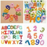 Kids Educational Preschool Fridge Magnetic Sticker Wood 10 Numbers+26 Letters