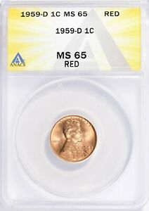 1959-D LINCOLN MEMORIAL CENT PENNY 1c ANACS MS65 RED