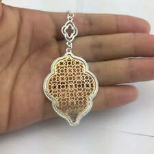Cut Off Gold Filigree Quatrefoil Statement Long Chain Clover Pendant Necklace