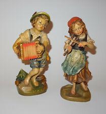 Holzfiguren Musizierendes Paar, Holzschnitzerei  alpenländisch Südtirol