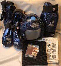 Macho Warrior Sparring gear Blue 6 pc w/Instructions Head Gear Guards Mesh Bag