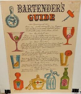 PATI BARTENDER'S GUIDE AMERICANA DRINKS VINTAGE COLOR POSTER DATED 1967