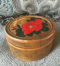 Vintage Wooden Vanity Powder Box Carved Painted Top Japan