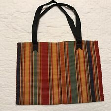 Multi-Colored Vertical Striped Cotton Tote Shopping Bag