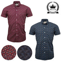 Relco Paisley Short Sleeve Shirt In Burgundy Blue Button Down Collar Mod Retro