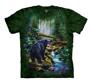 The Mountain Black Bears Grizzly Nature Forest Green Cotton Kids T-Shirt L-XL