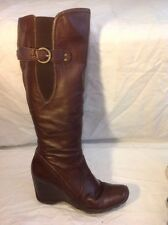 F&F Sensitive Sole Brown Knee High Leather Boots Size 5