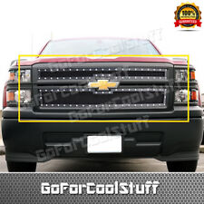 For 2014 2015 Chevy Silverado 1500 Steel Black Mesh Grille W/ Silver Rivet