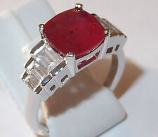 Striking African Ruby and Zircon ring in rhodium plated Sterling Silver, Size P.