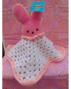Handmade crochet baby bunny peep lovey  plush* adorable for Easter