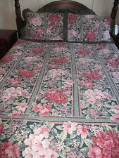 Heritage Style Floral Ruffled Edge Quilt Cover Set with Dust Ruffle - Queen Size
