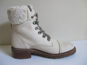 $398 NEW Frye Samantha Ivory Leather Hiking Boots Shoes 8 (B,M) New with Box