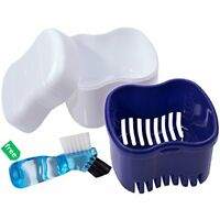Travel Denture Case With Clean Brush, Dental Retainer Container, Denture Bath To