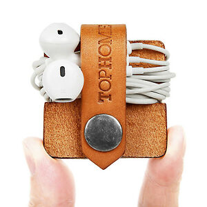 TOPHOME Leather Cord Organizer Headphone Earbuds Wrap Winder Manager Holder