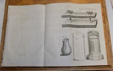 1756 Antique Print///WAX IMPRESSION MACHINE, & BOTTLE EXPERIMENT EQUIPMENT