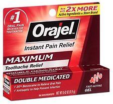 Orajel Maximum Double Medicated Instant Pain Relief 0.42 Ounce Gel