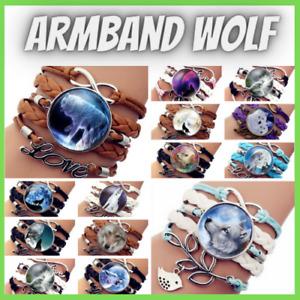 Armband Wolf Surferarmband Herren Damen Bracelet Geschenk Indianer Cabochon