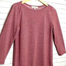 LOFT Women's Shirt Size Small Mauve White Pinstripes 3/4 Sleeve T-Shirt Style