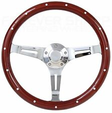 "14"" Euro Mahogany Wood Chrome Steering Wheel Set 1969-94 Chevy GM Ididit CPP"