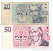 More details for 2x czech republic banknotes 50 korun 1993, 20 korun 1994