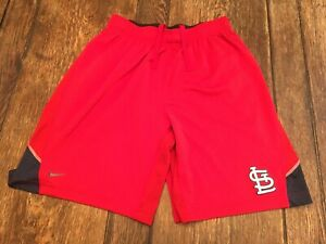 ST. LOUIS CARDINALS adult L large red NIKE shorts MLB baseball dri-fit practice